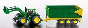 John Deere with front loader and trailer - HO