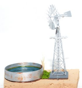 Windmill with Corrugated dam - N scale