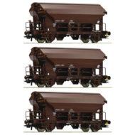 2 axle Swing Roof Freight Wagon set (3 pcs) - HO